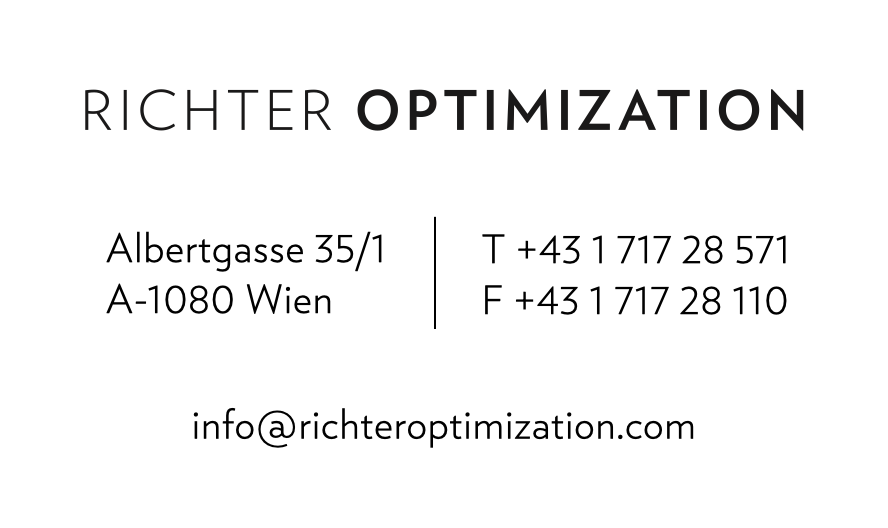 Business card of Richter Optimization